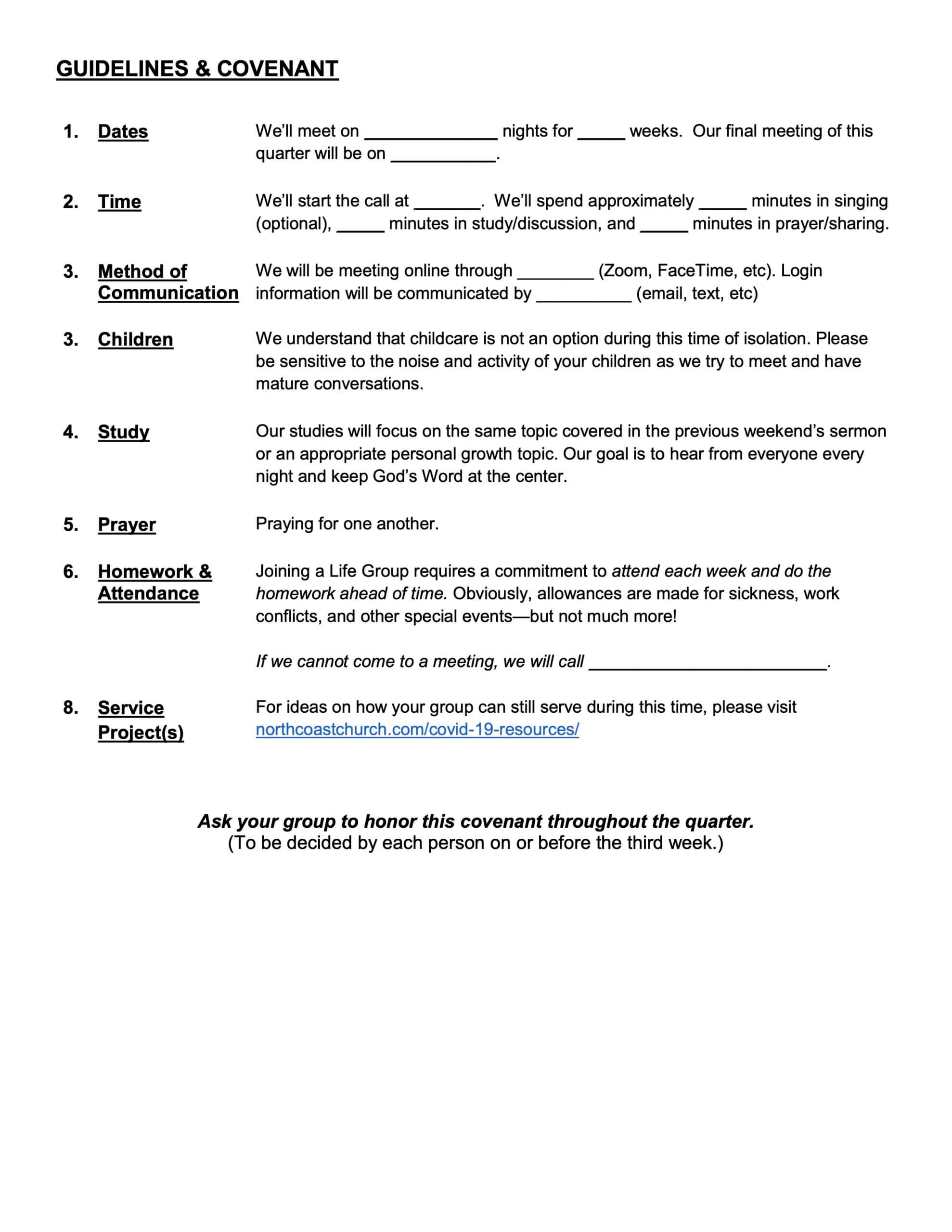Life Group Covenant, North Coast Church, Page 2