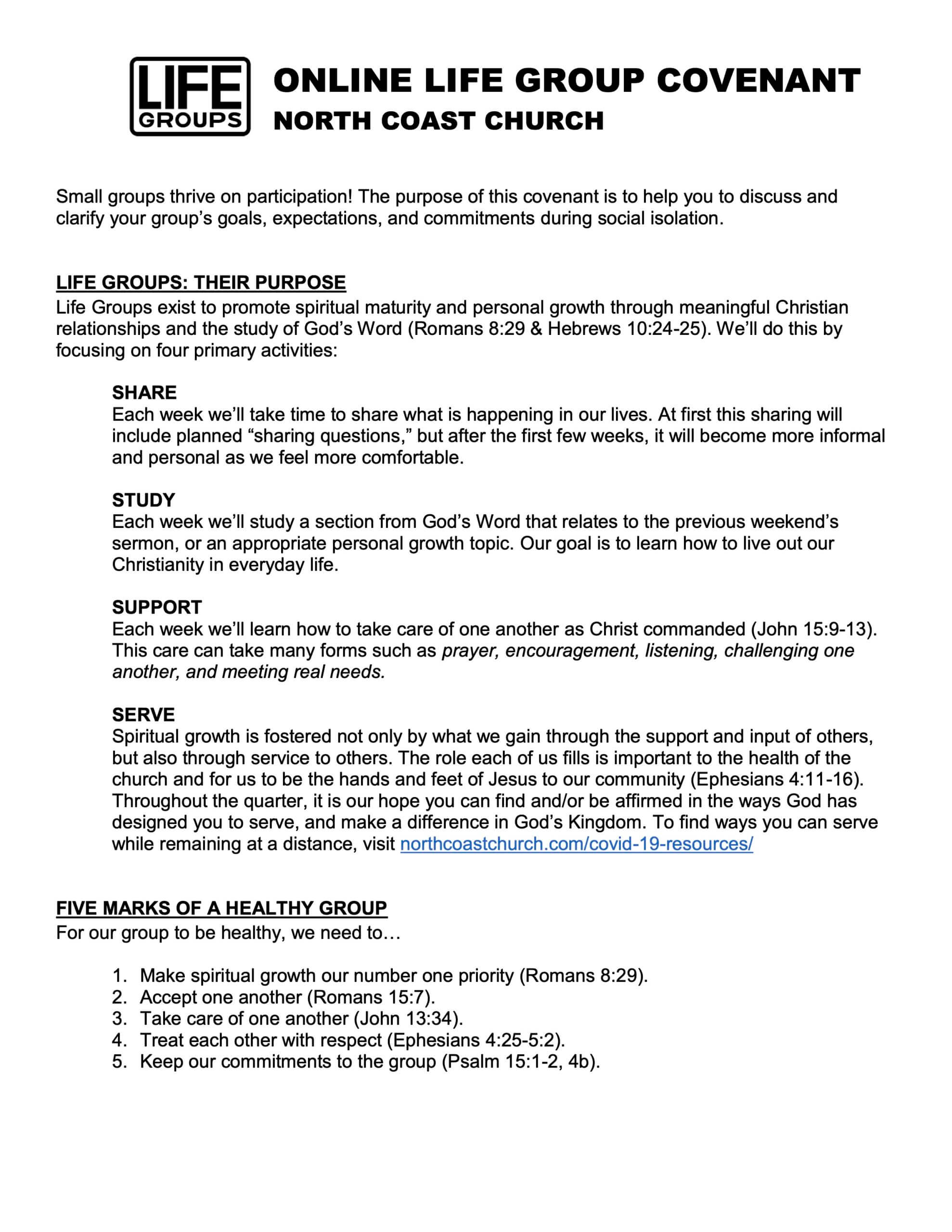 Life Group Covenant, North Coast Church, Page 1