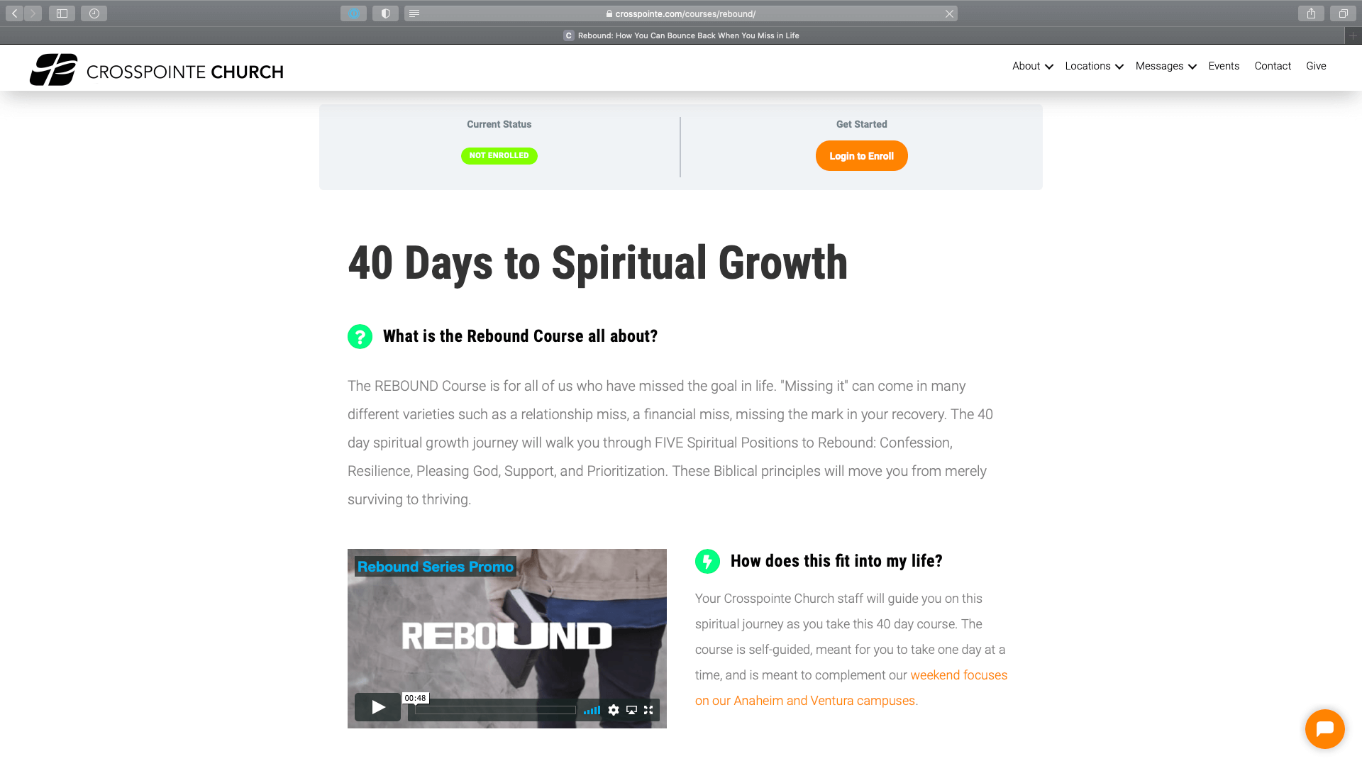 "Screenshot of a new course by Crosspointe Church, ""40 Days to Spiritual Growth"""